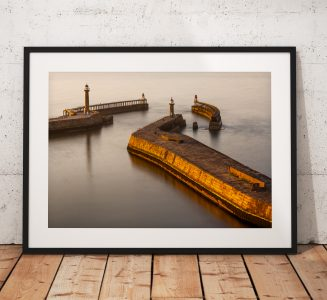 Whitby Pier sunset glow