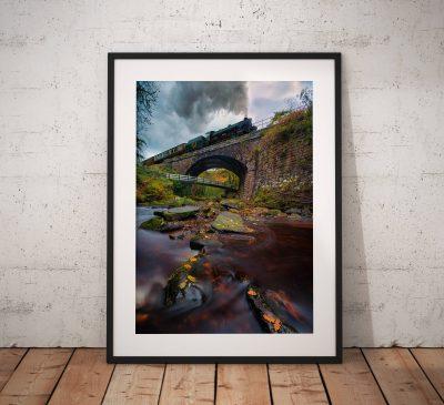 Railway photography, Steam Train, Stream, Long Exposure, North York Moors, Autumn, Countryside, Vintage, Retro, England, Wall art print