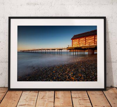 Seaside Photography, Saltburn Pier, Beach. Sunset. Glow, coast, Seaside, North York Moors, England. Landscape Photo. Home decor.